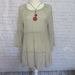 Spense Soft Gray Summer Boho Dress NWT